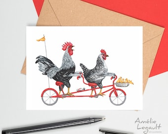 Chicken card, chicken birthday card, chicken greeting card, chicken family card, hen rooster and chicks, mother's day card
