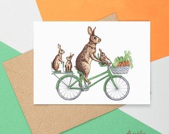 Rabbit card, rabbit greeting card, rabbit birthday card, mother's day card, father's day card, easter card, rabbit on a bike, rabbit family
