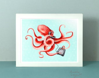 Octopus art print, octopus print, octopus art work, octopus on the phone, octopus illustration, 5 x 7'', 8 x 10'' and 11 x 14'' print