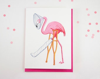 Get well card, Pink flamingo card