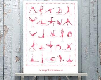 Pink Flamingo yoga pose poster with 25 asanas, 18 x 24 poster