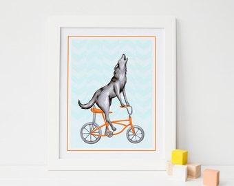 Wolf on bike print, biking wolf, cycling wolf, wolf drawing, 5x7 8x10 and 11x14