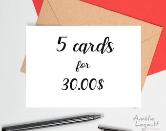 Greeting cards, 5 cards for the price of 4, card set