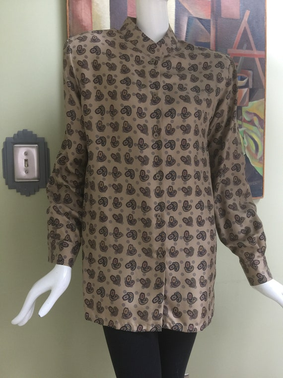 Vintage Silk Paisley Nehru Blouse - Beautiful!