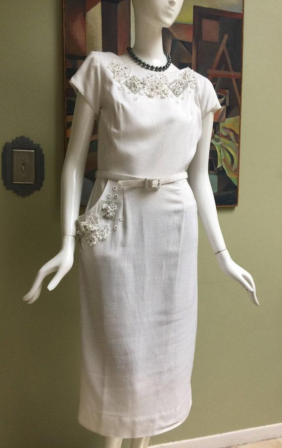 Beautiful Vintage 50s Sidney Kramer Linen Dress