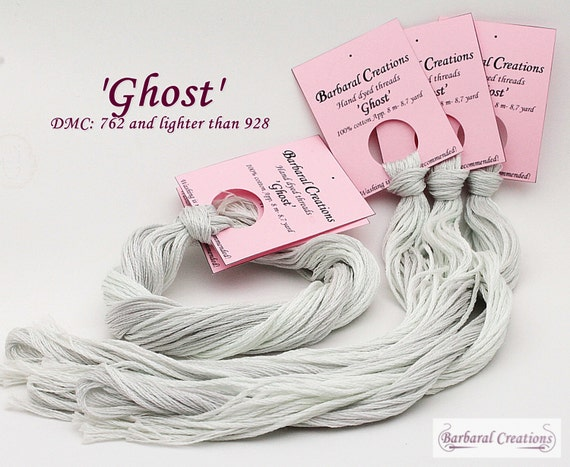 Hand dyed cotton thread for embroidery, cross stitch - 'Ghost'