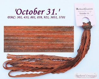 Hand dyed 2.2 yard 11 mm wide cotton lace, dentelle - 'October 31.'
