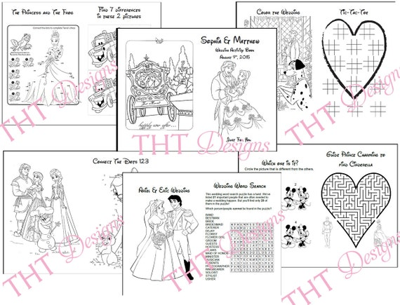 Disney Theme Wedding Activity Book Printable Wedding Etsy