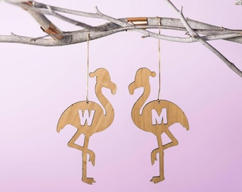 bamboo personalised flamingo christmas decoration
