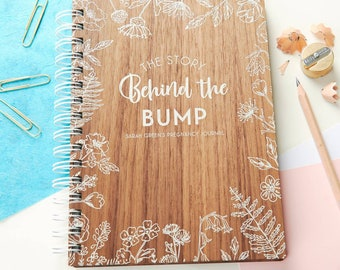 Personalised 'Behind The Bump' Walnut Pregnancy Journal