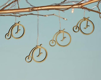 Christmas Bamboo Penny Farthing Decorations