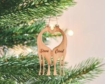 Bamboo Personalised Giraffe Christmas Decoration