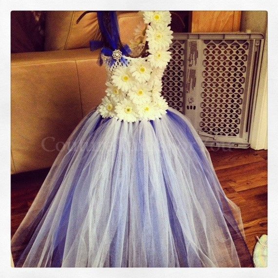 1d62e0070d5 Horizons White Tulle flower girl Dress blue tulle flower
