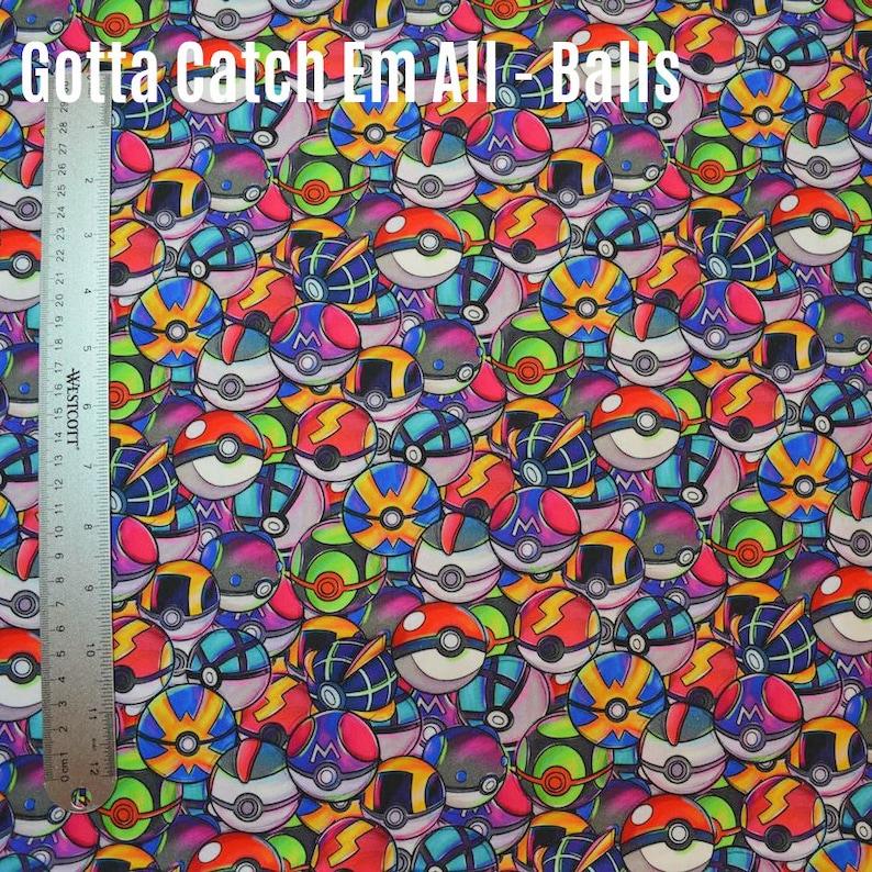 Many fabrics Available! Gotta Catch Em All Woven Custom Fabric Tumbler Cut Balls