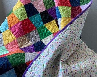 "Homemade Colorful Rainbow Lap Quilt ~ 40 x 60 - Riley Blake ""Kaleidoscope"""
