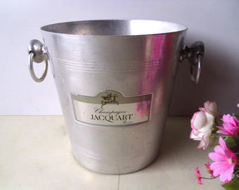 Champagne ice bucket Jacquart Reims France. Vintage French aluminium Champagne server wine cooler ice bucket. Champagne accessory.