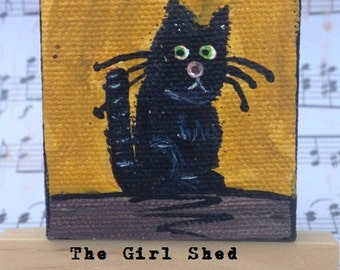 "Mini Acrylic Painting ""Black Cat""- 2x2 Stretched Canvas with Easel"