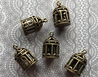 Birdhouse Charms/Pendants- Bronze, 3D (5)