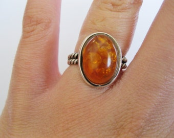Amber Sterling Silver Ring Size 6 and 1/2