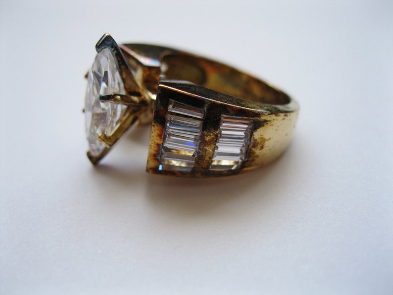 Cubic Zirconia Large Gold Plated Sterling Silver Ring Size 6