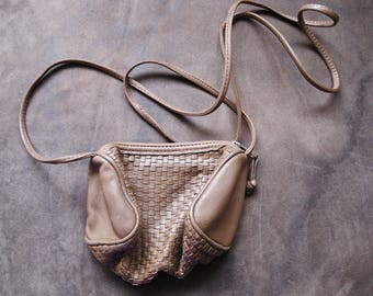 Vintage Brown Small Ganson Cross-body Woven Leather Purse