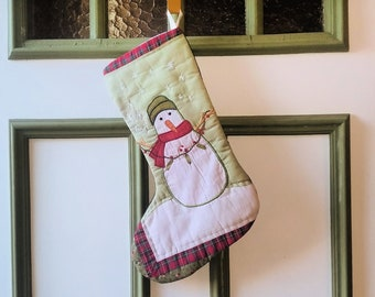 Snowman Christmas Stocking - Appliqued Snow Person - Upcycled Recycled Repurposed Fabrics Stocking - Red Green White Stocking - Xmas Gift