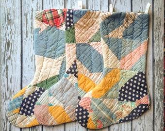 Vintage Patchwork Quilt Christmas Stocking - Monogrammed Stocking - Custom Stocking - Holiday Gift - New Baby Gift - Wedding Gift