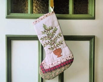 Christmas Tree Stocking - Appliqued Ribbon Embroidery Tree - Upcycled Recycled Repurposed Fabrics - Red Green White Stocking - Xmas Gift