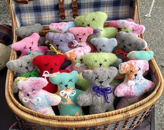 Handmade Mini Bear - Tiny Teddy Bear - Colorful Baby Toy - Dog Toy - Upcycled Eco Friendly Toy