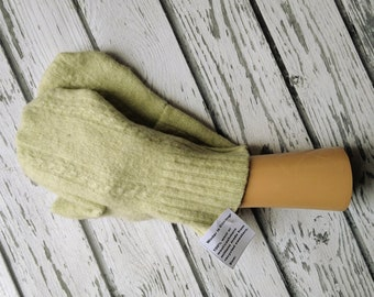Recycled Sweater Mittens - Felted Wool - Warm Woolen Mittens - Bernie Mittens -Felted Wool Mittens - Light Celery Green - Upcycled