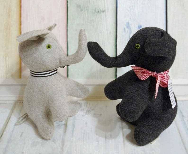 4ab5022fe78d Gray Elephant Toy Recycled Sweater Toy Handmade Wool