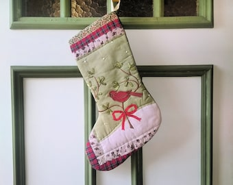 Red Cardinal Stocking - Appliqued Ribbon Embroidery Bird - Upcycled Recycled Repurposed Fabrics - Red Green White Stocking - Xmas Gift