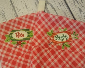 Set of Two - Naughty Nice Christmas Stockings - Embellished Embroidered Stockings - Red White Candy Stripe Flannel Stockings - Wedding Gift