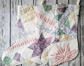 Vintage Patchwork Quilt Christmas Stocking - Star Quilt - Monogrammed Custom Stocking - Holiday Gift - New Baby Gift - Wedding Gift