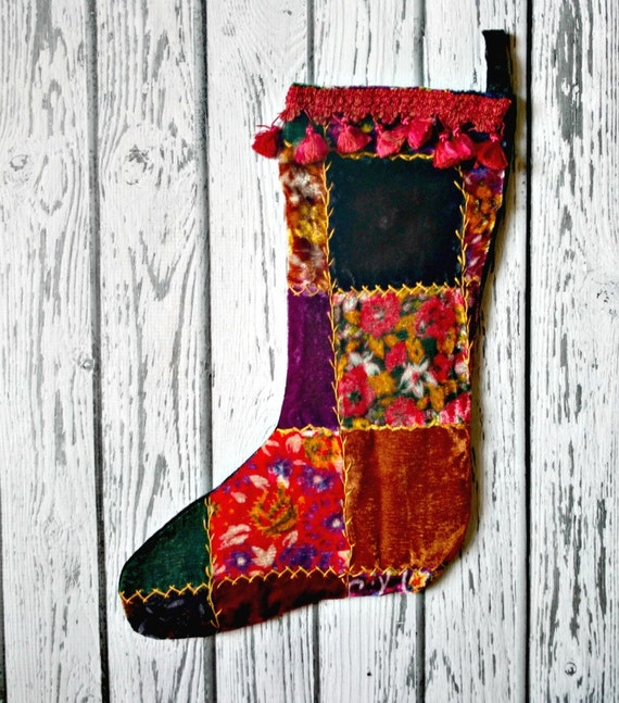 Victorian Christmas Stockings.Victorian Christmas Stocking Velvet Patchwork Embroidered Stocking Luxurious Christmas Decor Edwardian Excess