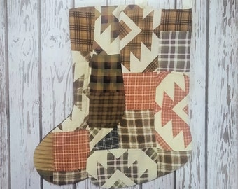 Vintage Patchwork Quilt Christmas Stocking - Plaid Flannel Patchwork Stocking - Custom Stocking - Holiday Gift - Wedding Gift