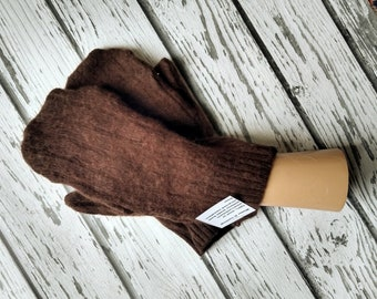 Recycled Sweater Mittens - Felted Wool Mittens - Warm Woolen Mittens - Bernie Mittens -Felted Wool Mittens - Brown Cashmere - Upcycled