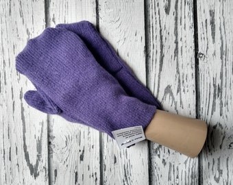 Recycled Sweater Mittens - Felted Wool - Warm Woolen Mittens - Bernie Mittens -Felted Wool Mittens - Royal Purple  Upcycled