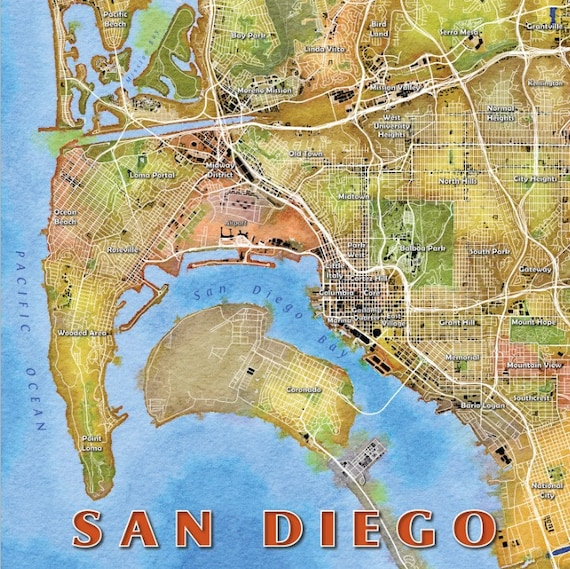 San Diego Watercolor Map Art