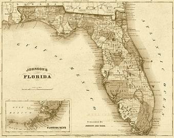 Florida Map State.Florida Map Etsy