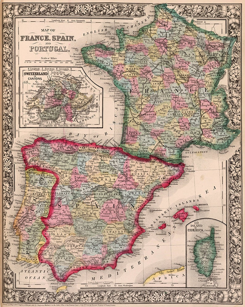 Map Of Spain And Portugal And France.1800s County Map Of France Spain And Portugal France Spain Etsy