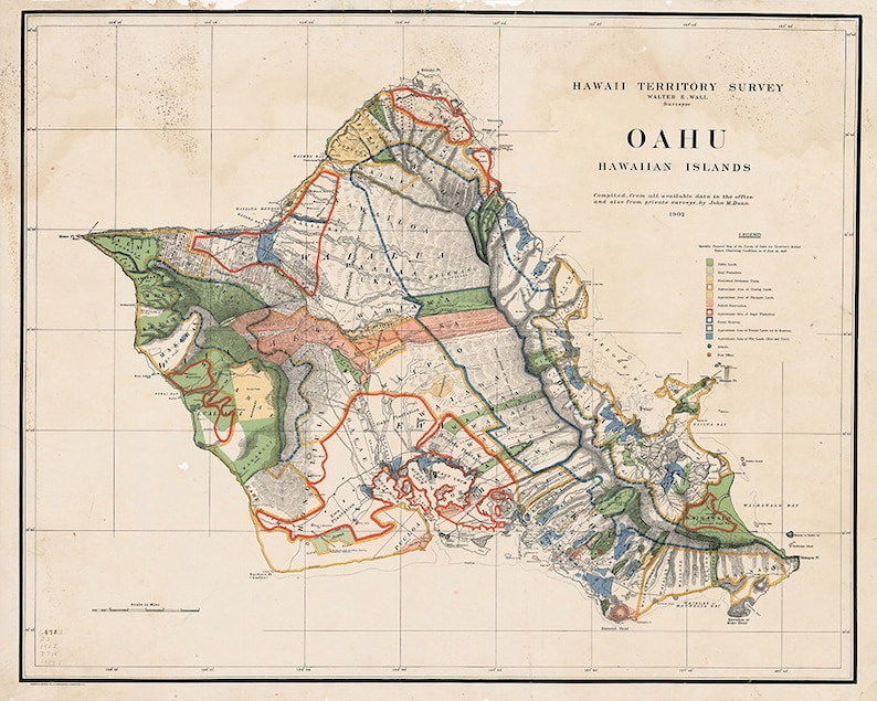 photograph regarding Printable Map of Oahu referred to as 1903 Oahu Map, Territory Study, Hawaii Print, Hawaii Decor, Hawaii Artwork, Oahu Print, Oahu Decor, Oahu Artwork, Oahu Map, Hawaiian Decor