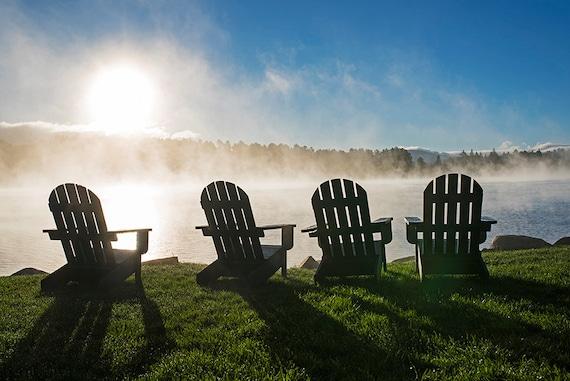 Mirror Lake Adirondack Chairs on a Misty Morning, Lake Placid, NY, New  York, Adirondacks, Adirondack Chairs, Mist, Sunrise, Mirror Lake