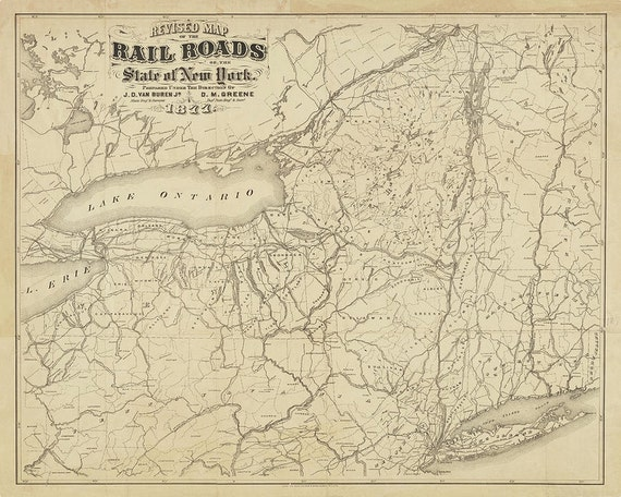1877 Railroad Map of New York State print reproduction, Railroad Map, Train  Map, New York Map, New York State, 1877, Sepia, Black and White