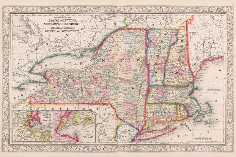 Jahrhundert neu-England und New York Stadtplan Massachusetts   Etsy