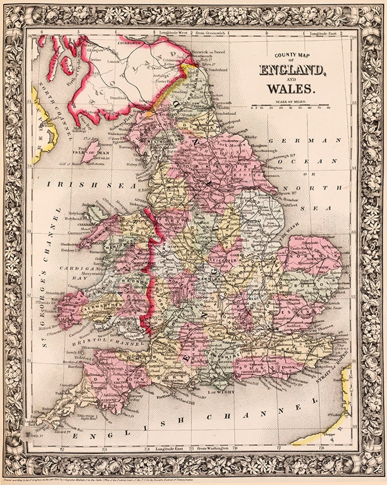 1800s County Map Of Wales England Wales England Wall Art Etsy