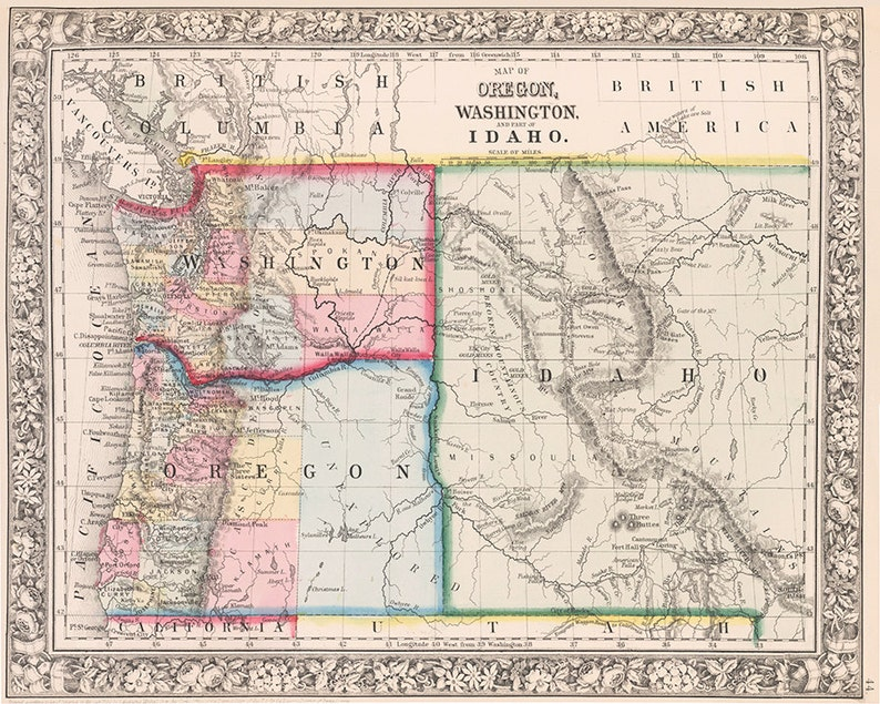 1800s Pacific Northwest Map Print Reproduction Oregon Map Etsy