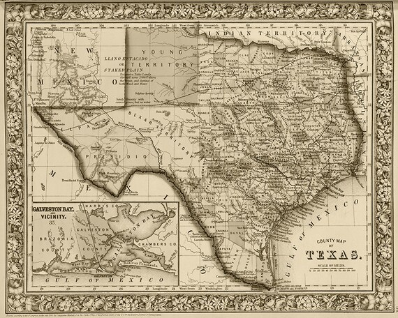 19th Century County Map Of Texas Print Reproduction Texas Etsy