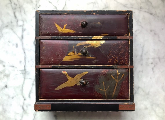 Antique Chinese Black Lacquer Jewelry Box