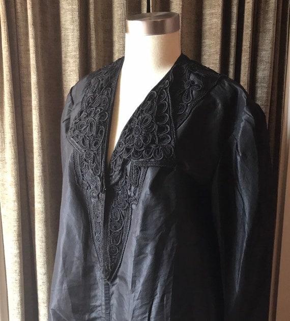 Antique Edwardian Black Silk Mourning Jacket